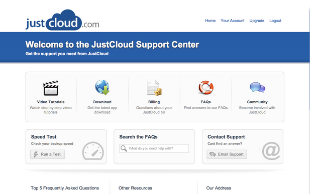JustCloud Customer Support Center