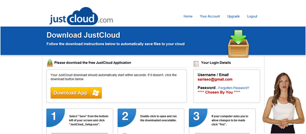 JustCloud Download Page
