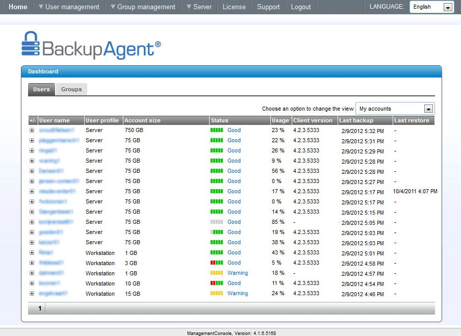 BackupAgent Management Console