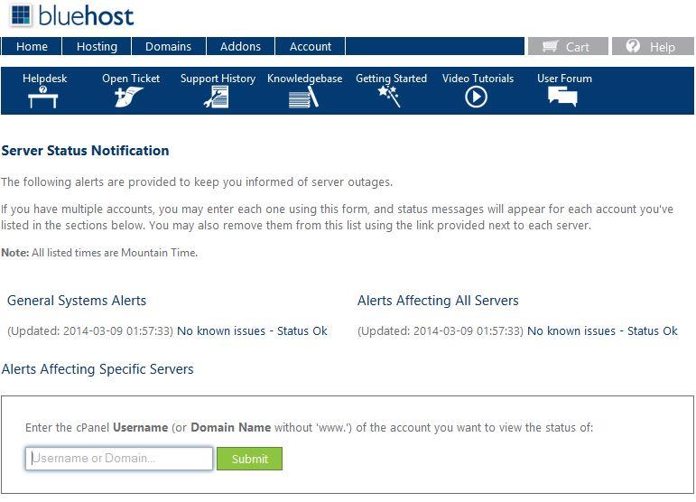 BlueHost Server Status