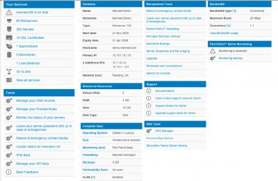 Memset Control Panel