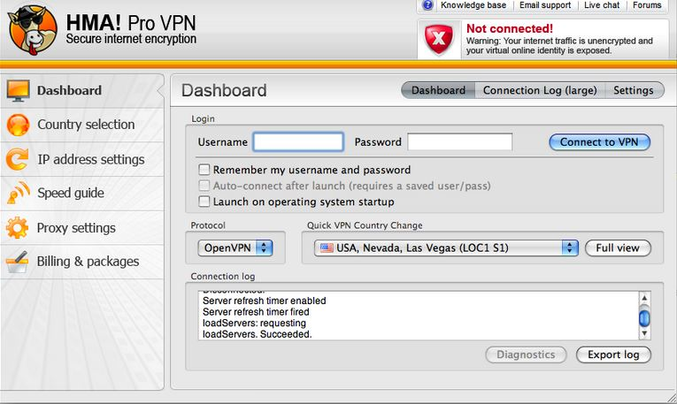 HideMyAss Dashboard - Choosing Server Location