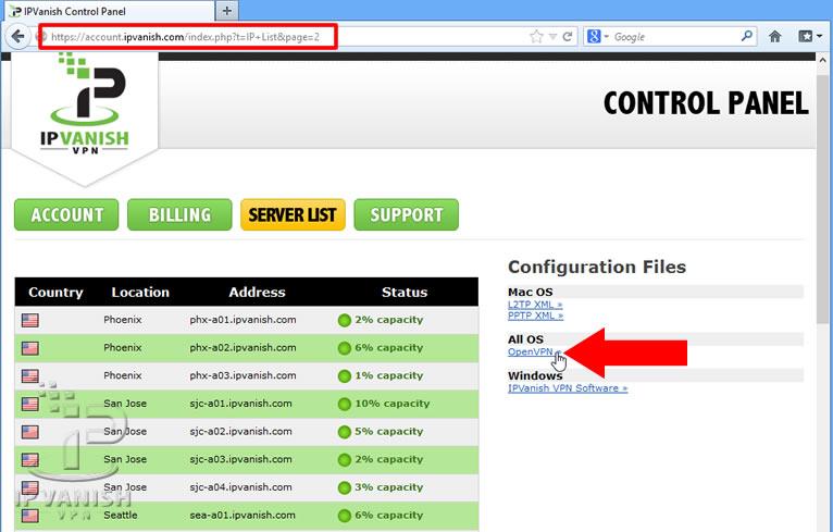 IPVanish Control Panel - Downloading Config Files