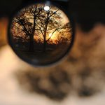 magnifying glass sunset