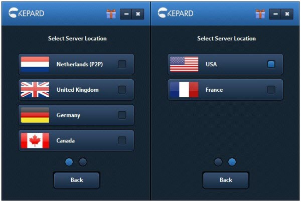 Kepard VPN - Choosing Server Location