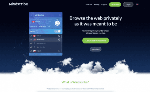 Windscribe VPN Homepage