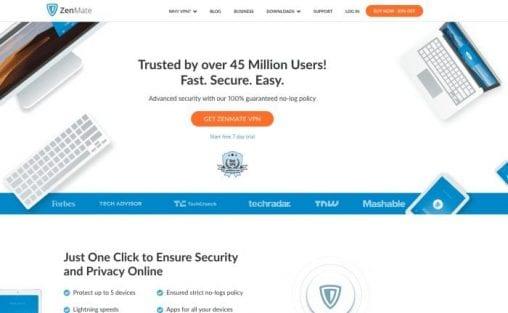 ZenMate VPN Homepage